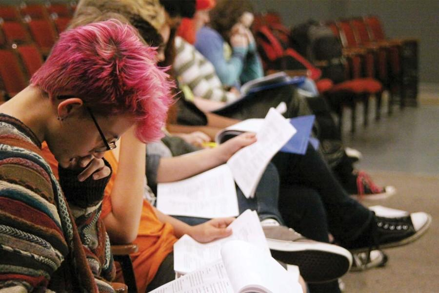 Reading through lines, freshman Mia Romano preps during the first day of rehearsals for