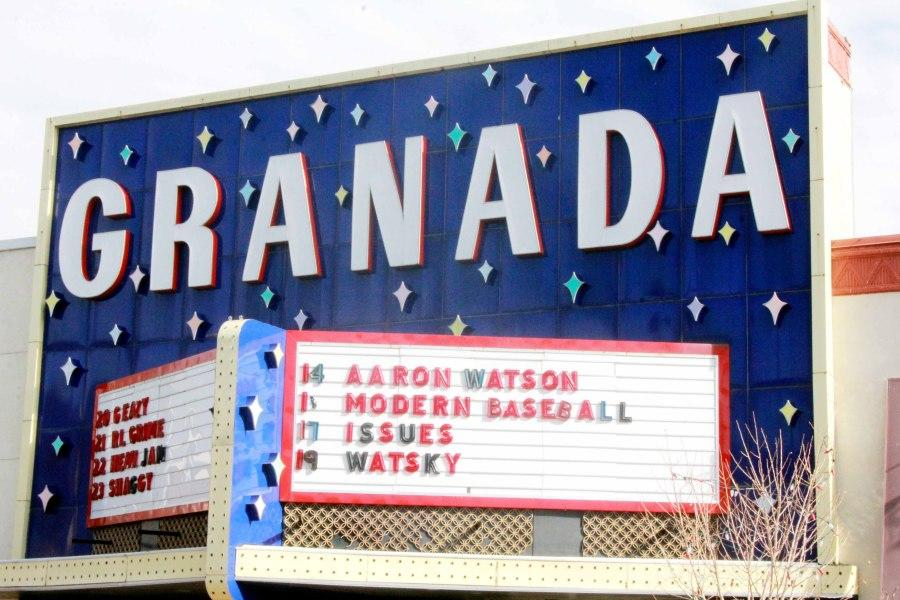The marquee at the Granada shows the lineup of acts for the month. This former movie theater hosts bands from throughout the country. (Photo by Sam Goodwin, The Free Press)