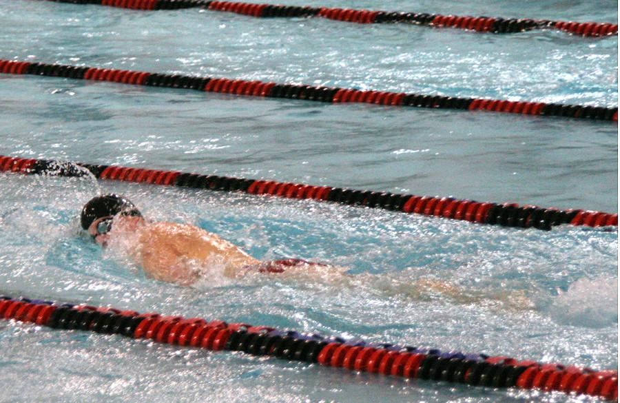 Freshman Stephen Johnson, swimming here at a January swim meet, led the Lions at state.