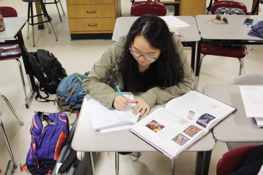 Preparing for her future career in medicine, senior Joo Young Lee finishes a biology assignment in Ann Foster's first hour AP Biology class.