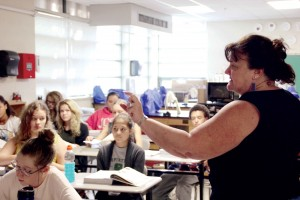 Biology teacher Ann Foster teaches a class of 24 students in 2015.