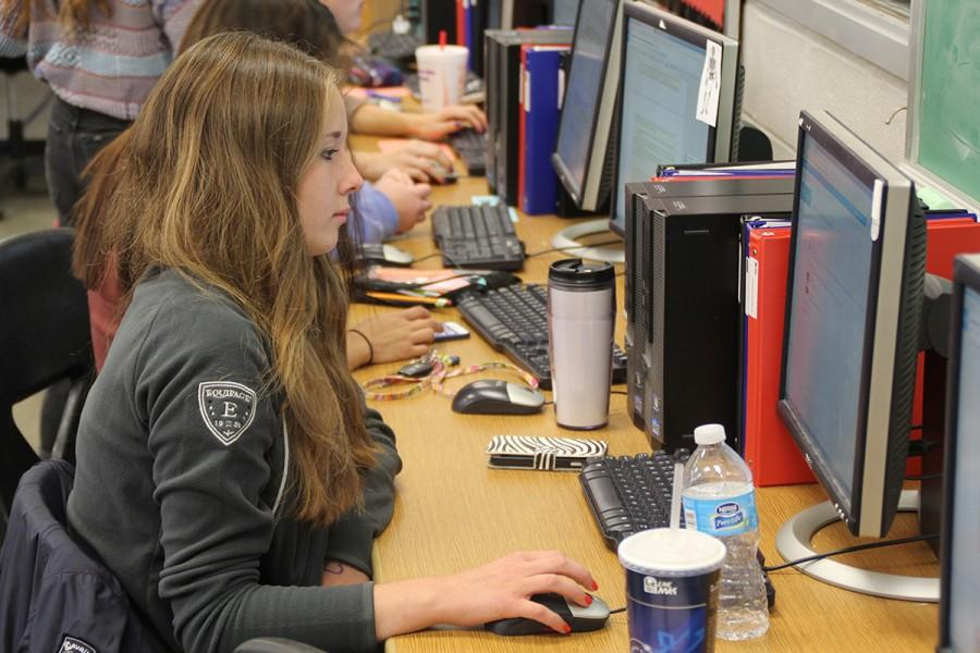 Working in the Newsroom — Exchange student Jana Scherbarth works on her letter, featured on this page.