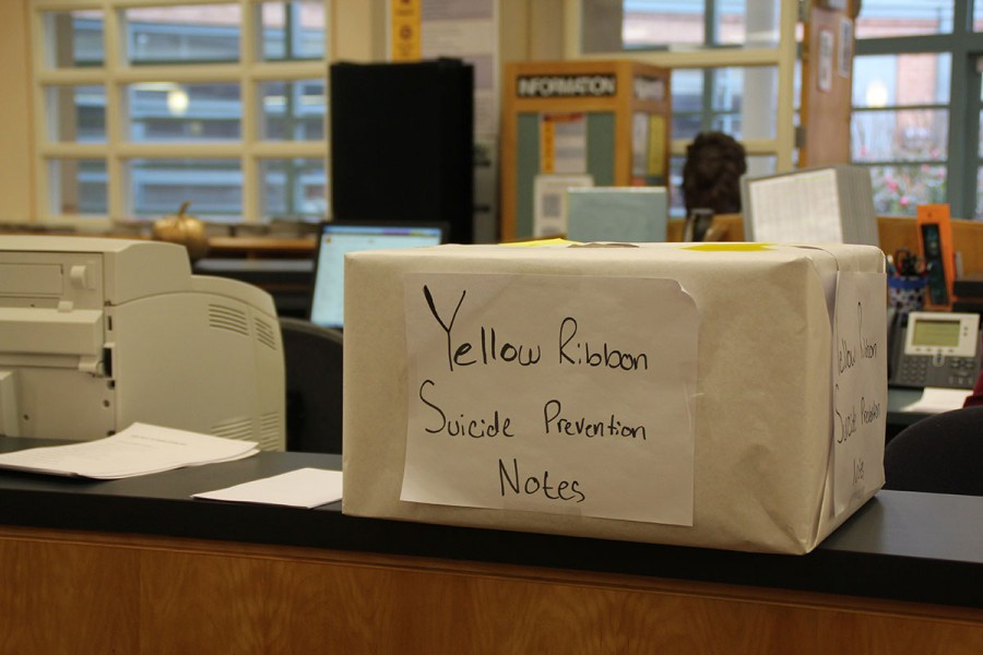 The two Yellow Ribbon note drop off boxes are in the library and in room 139.