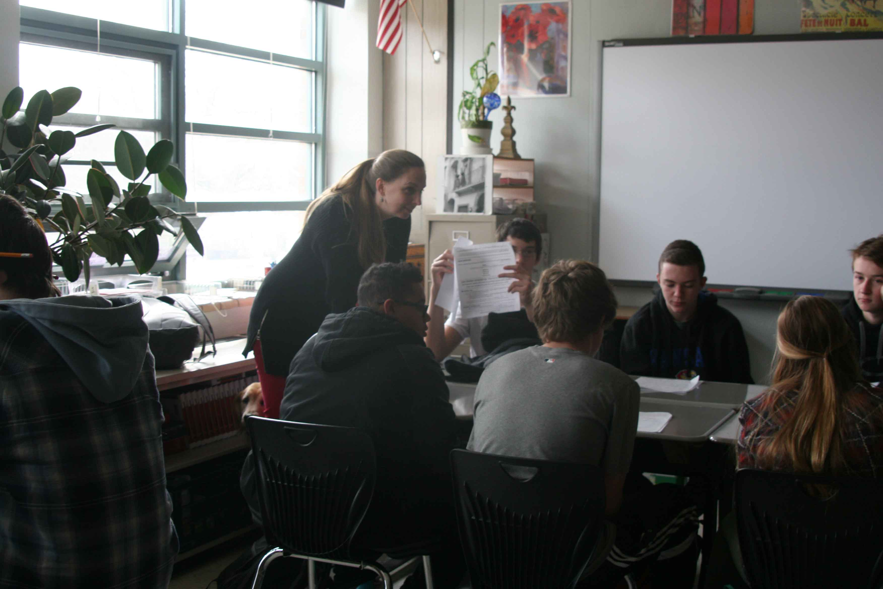 English teacher Keri Lauxman teaches an English 9 class.