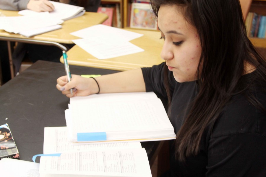 Senior Emily Torres works in her Spanish class.