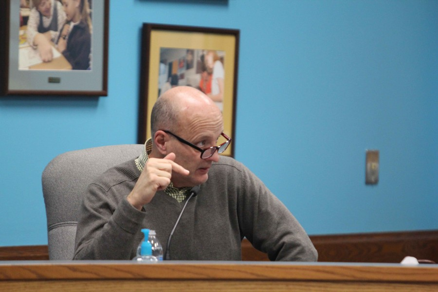 Supenindendent Rick Doll leads the school board meeting on Feb. 22.