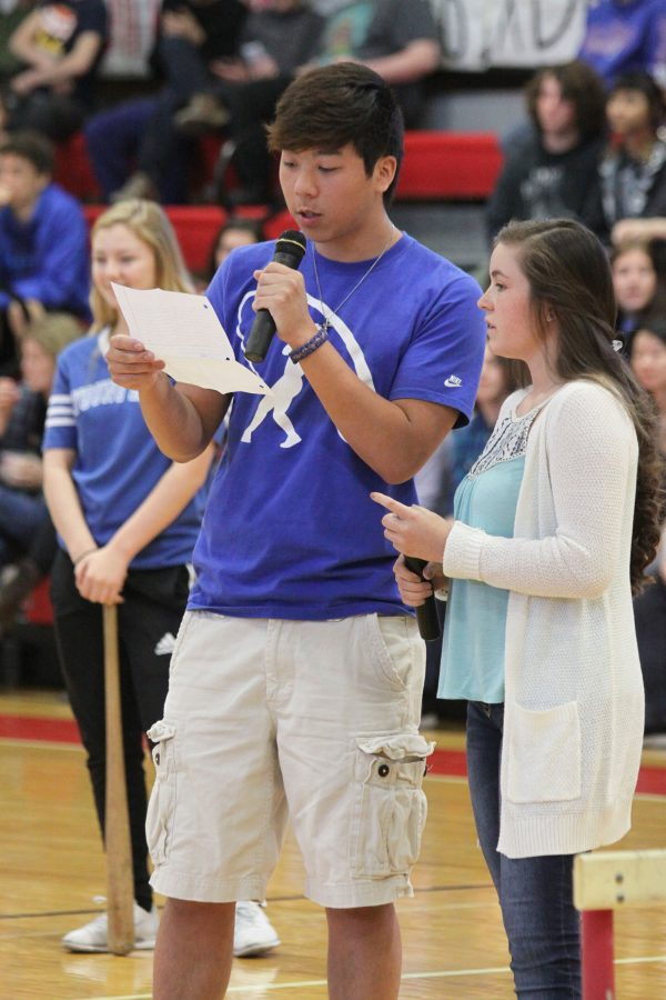 Junior Nico Carlson and senior Nico Kenney speak at the school assembly on April 7
