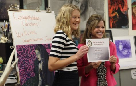 Senior Caroline Baloga was presented the Congressional Art Award by Lynn Jenkins on May 5.