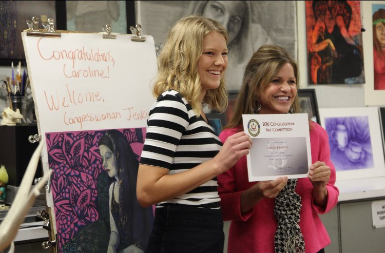 Senior Caroline Baloga was presented the Congressional Art Award by Lynn Jenkins on May 5.