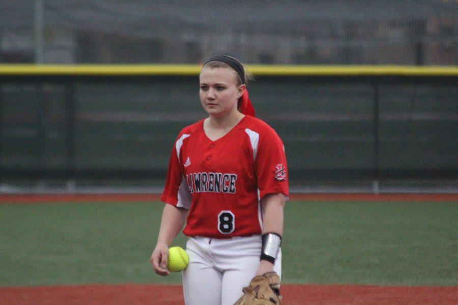 Senior Amber Flummerfelt plays with her team on March 31.