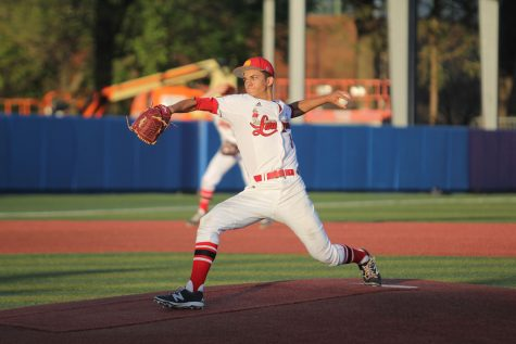 Senior Daonte Lowery throws a pitch on April 14 at Hoglund Field at Kansas University.