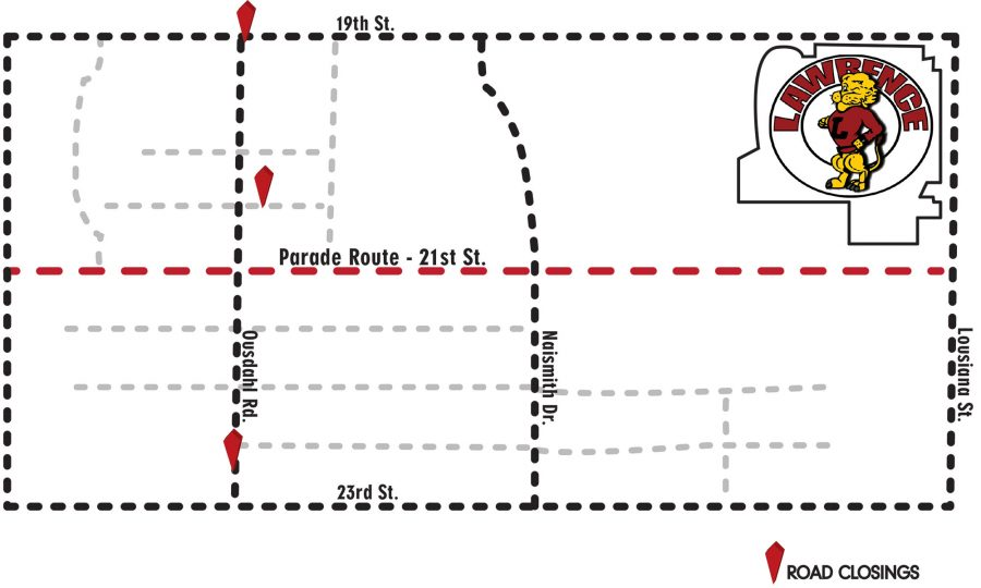 In previous years, the Homecoming Parade took place on the Friday afternoon of the Homecoming game and went down Massachusetts Street. This year, the parade route was ordered changed to 21st Street and the date was changed to Wednesday.