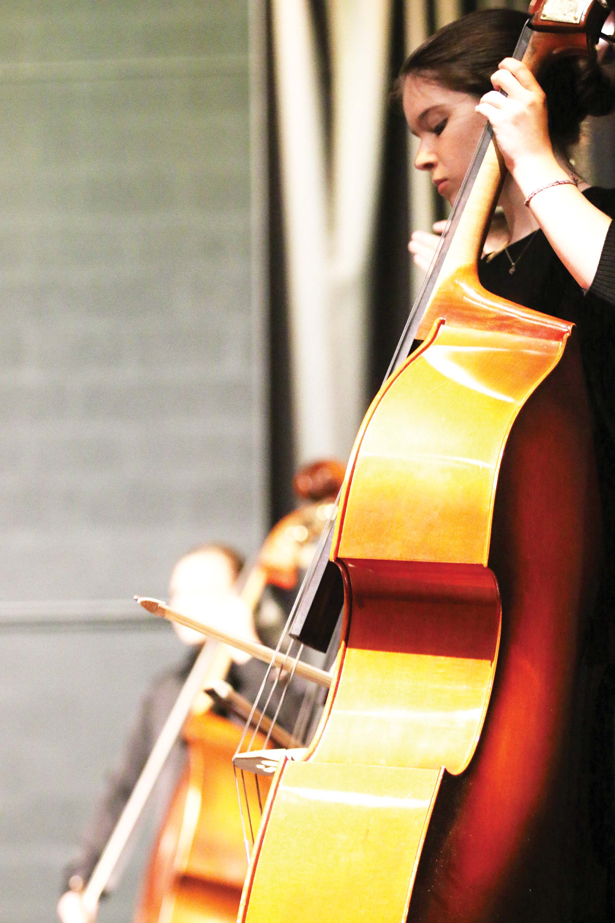 """FOCUS — Bassist Meriel Salisbury, freshman, performs amongst her peers at Gala. """"I liked the playing the freshman piece, The Tempest,"""" Salisbury said."""