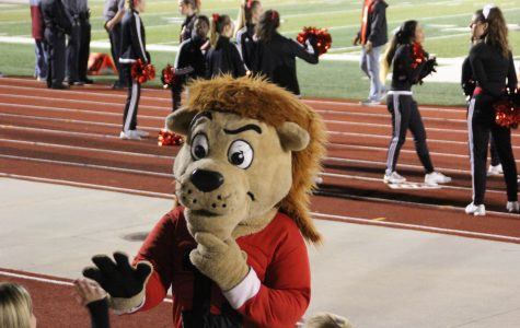 Chesty speaks to fans at the football game against Free State on Oct. 21. Be sure to get your tickets in advance for the basketball game against Free State this Friday.