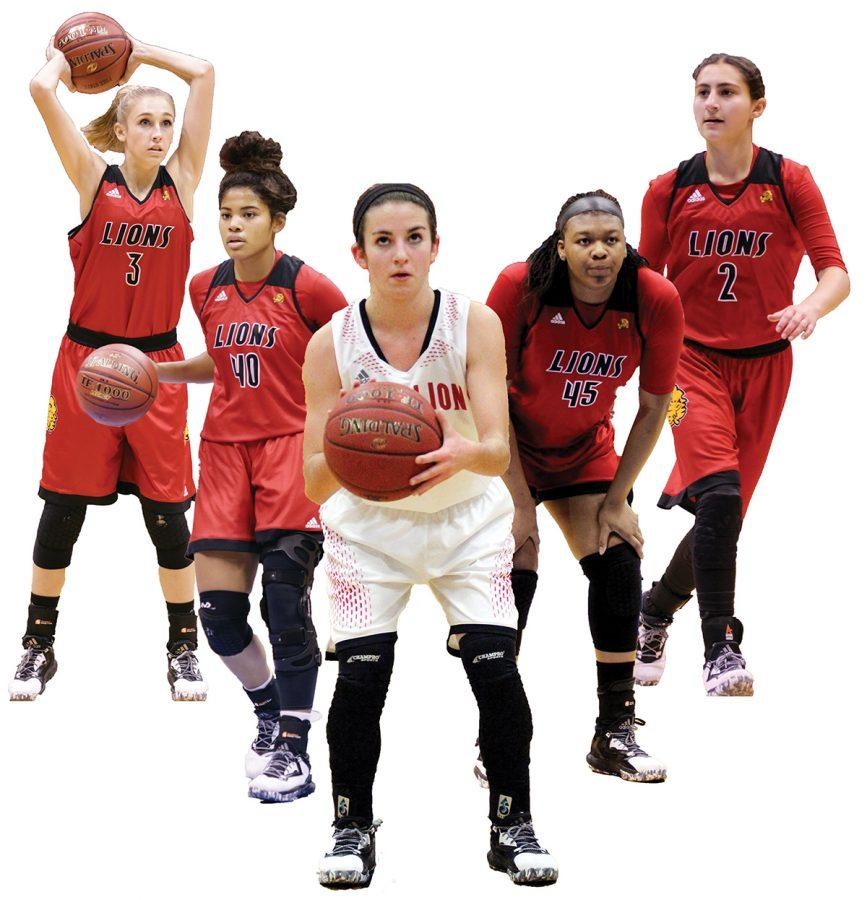 The starting five for the Lions include senior Skylar Drum, junior E'lease Stafford, sophomore Hannah Stewart, sophomore Chisom Ajekwu and senior Olivia Lemus.