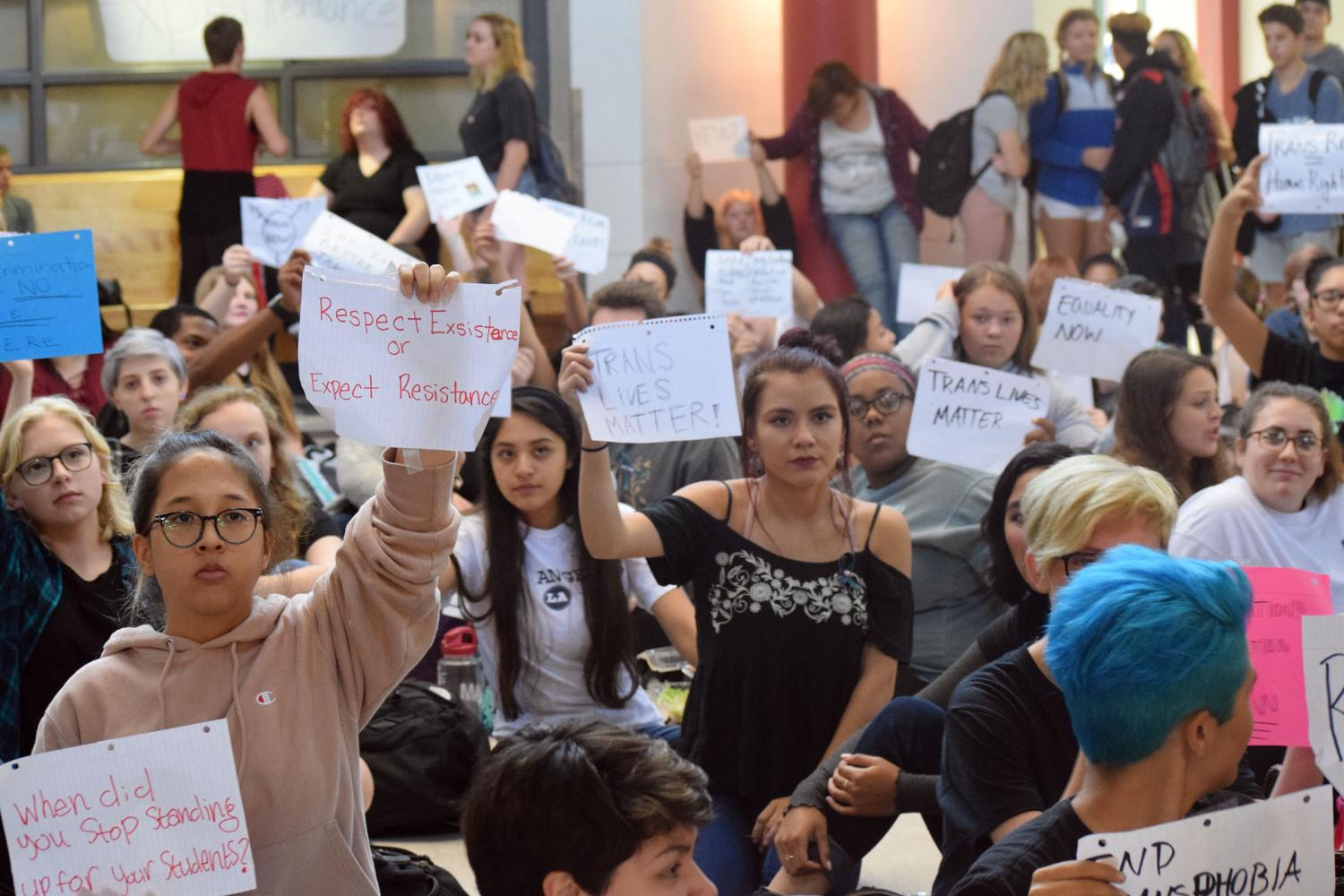 Students filled the rotunda Monday for a sit-in to support transgender students.