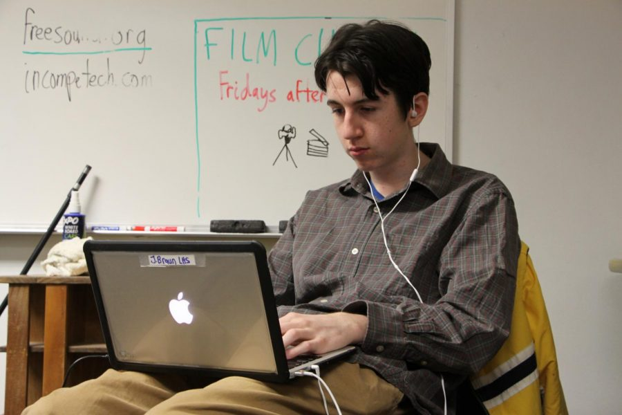 Sophomore Joseph Michael Braun works intently on his film before the showcase at 4 p.m in the LHS auditorium.