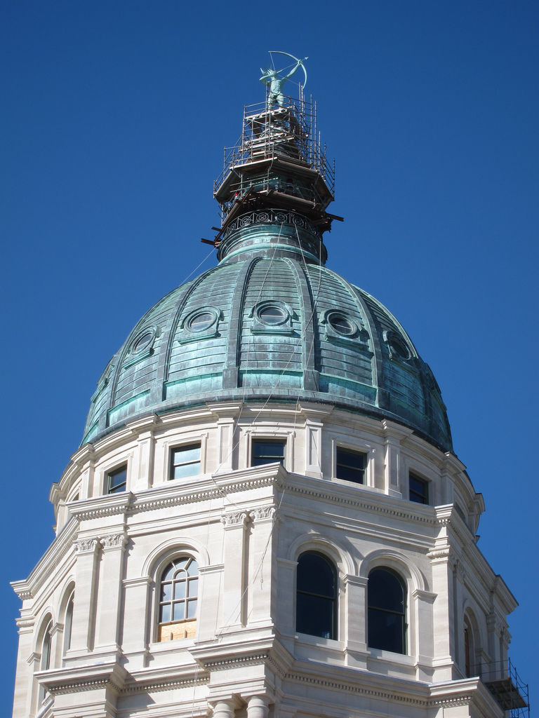 The Kansas capitol dome on February 26, 2012.