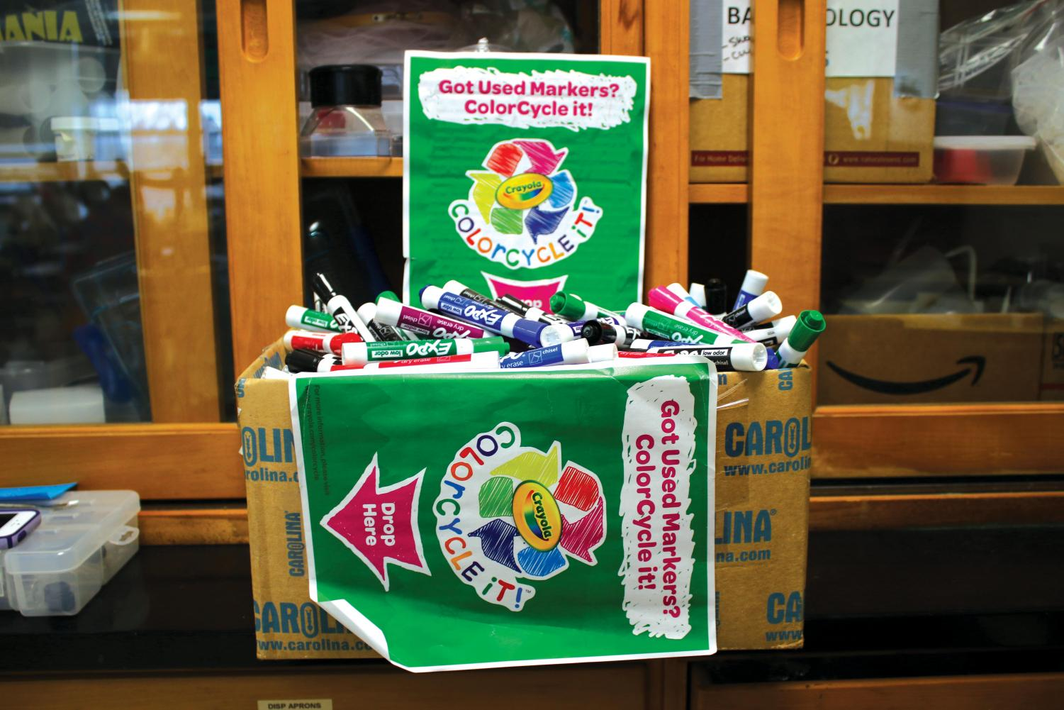 "OPPORTUNITY — Expo markers are collected in AP Environmental Science and Biology teacher Lisa Ball's room this year. According to Crayola, ""ColorCycle is also a great opportunity for teachers and their students to explore eco-friendly practices."""
