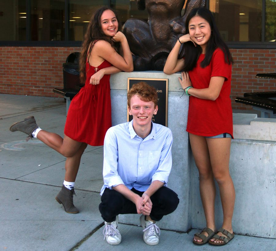 Seniors Zuzu Melchor, Lex Moulton, Emily Guo and Aidan Pierce (not pictured) were awarded the National Merit Semifinalist distinction this year.