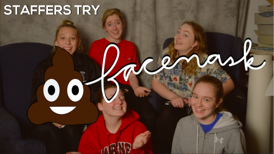 Staffers Try Claire's Poop Face mask