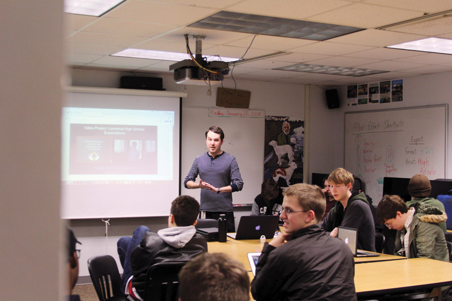 """Zach Saltz gives a lesson to his film class. His class will move close to the photography and journalism rooms to maximize equipment inventory. """"I'm really excited to be near other CTE teachers,"""" Saltz said. """"If we could combine and share resources, how awesome would that be?"""""""