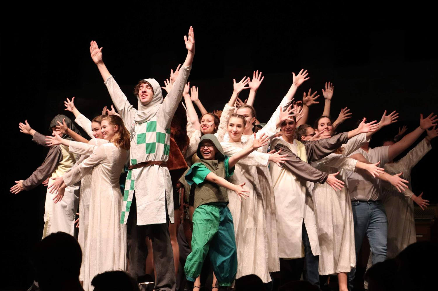 Arms+outstretched%2C+junior+Noah+Stussie+stands+front+and+center+during+the+finale+of+his+song+%22You+Won%27t+Succeed+on+Broadway+if+You+Don%27t+Have+Any+Jews%2C%22+during+the+winter+musical%2C+Monty+Python%27s+Spamalot%2C+on+Jan.+25.