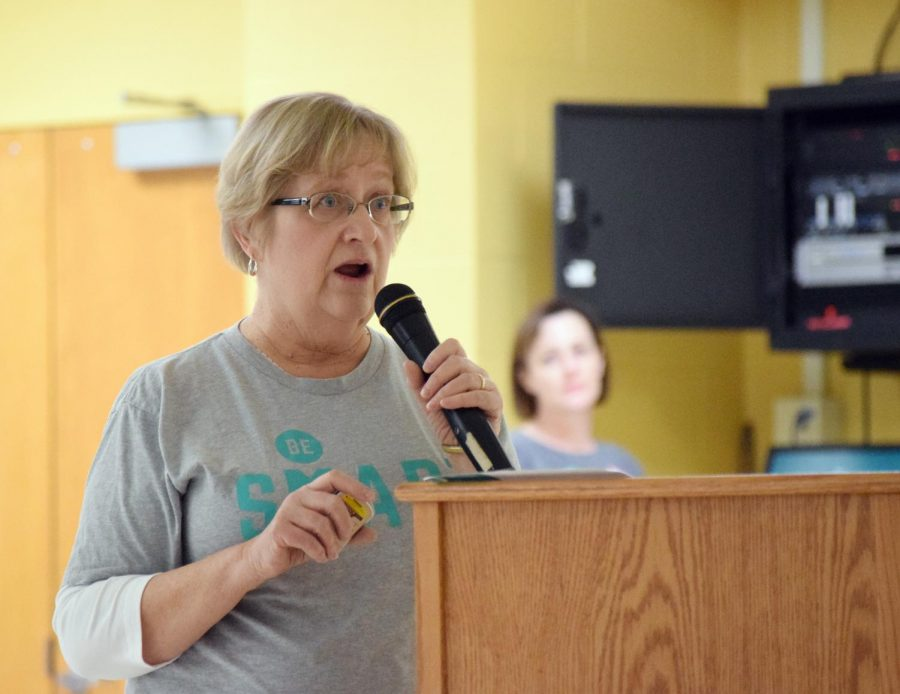 Former speech and language pathologist Deborah Boatright gives a presentation from the organization BeSMART. BeSMART is a nonpartisan group advocating safety and common sense education regarding firearms.