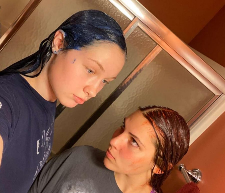 Seniors Haven Rethman and Katherine Williams copes with COVID-19 cancellations by dying their hair
