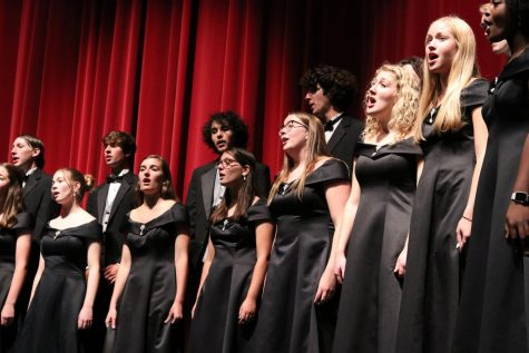 Members of A Capella choir sing during an October concert at Lawrence High. Choir members had planned to travel to Tennessee in March, but their plans were cut short by the pandemic.