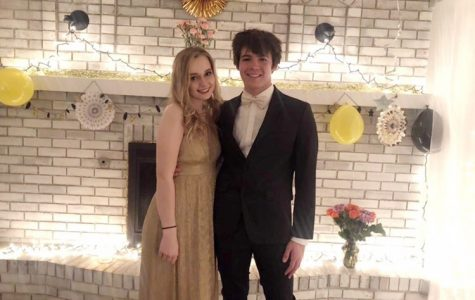Seniors Josie Abernathy and Gavin Carver pose at their two person prom.