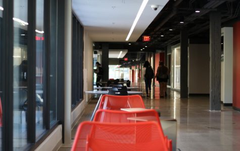 Hybrid learning is scheduled to begin later this month bringing students back to Lawrence High for classes in a schedule aimed at limiting the number of students in the building. This is a look down the newly opened innovation corridor on Sept. 30.