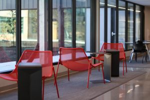 Students can sit and work while looking out at the new courtyard.