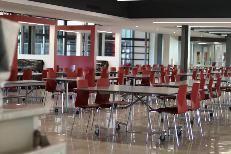 Chairs and booths fill the freshly remodeled cafeteria.