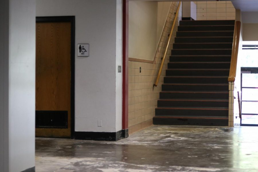 This stairwell is one of the last parts of the building that has not yet been remodeled.