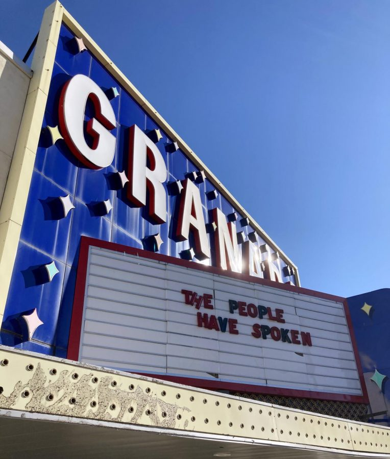 In downtown Lawrence, the Granada responded to the results of the 2020 presidential election.