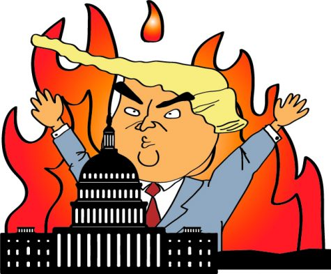 President Donald Trump looms over the United States Capitol building with a wall of fire. Supporters of Trump led attacks on this building today during proceedings to finalize 2020 electoral college votes.