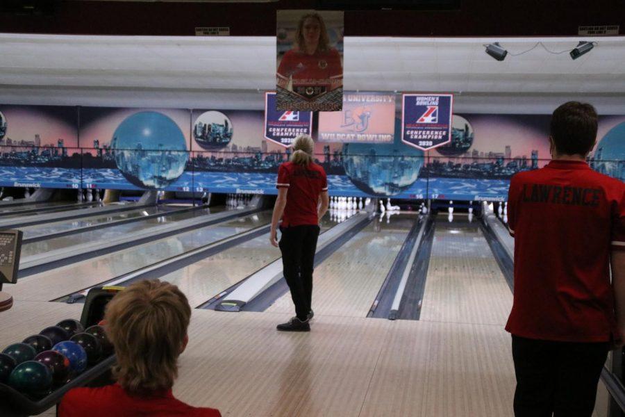 Senior Wheeler Battaglia-Davis looks on as his ball knocks down pins on Senior Night.