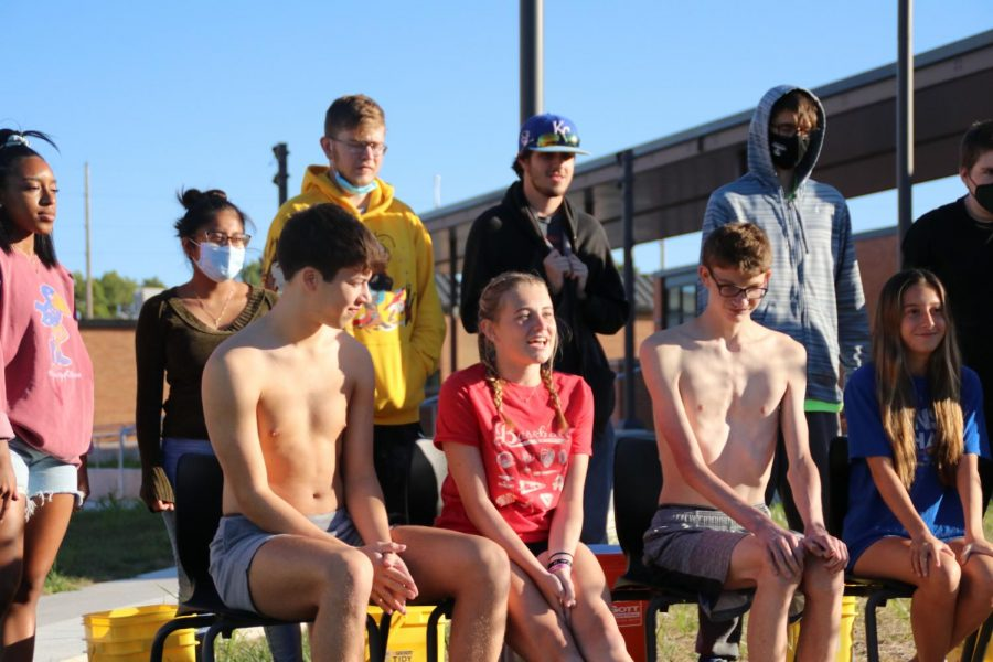 IPS students participate in an ice bucket challenge to raise money for Kicks4Kids.