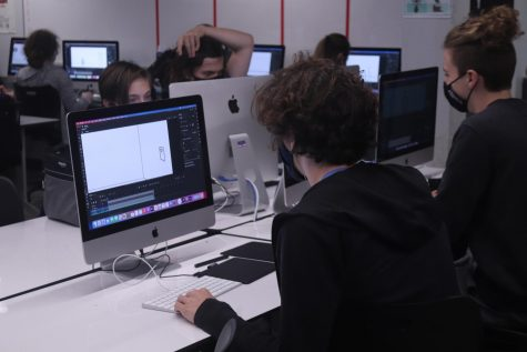 Students work hard learning new animation skills during the first week of a brand new animation course.