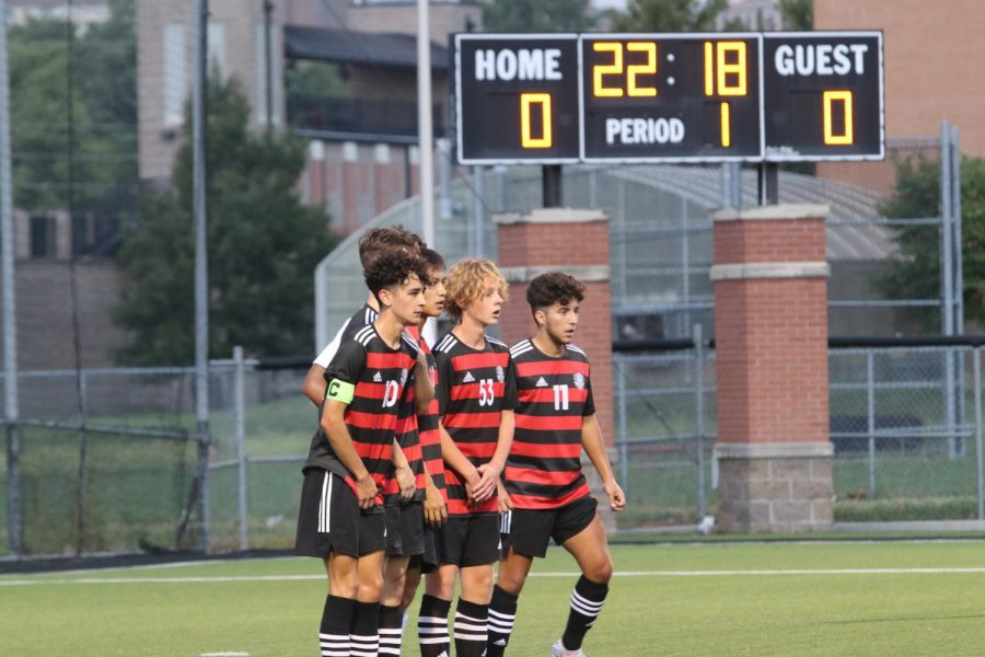 Boys soccer players form a wall during a home match against Mill Valley Sep 14.